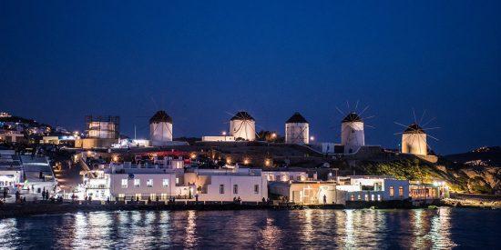 Mikonos Mykonos de noche Grecia