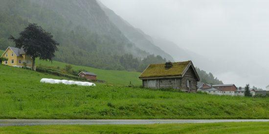 Casa tejado con Hierba visita al Glaciar Noruega