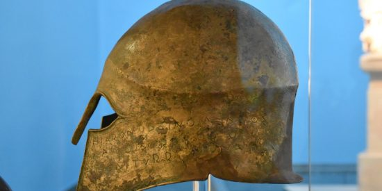 Casco en Olimpia yacimiento arqueológico Peloponeso Grecia