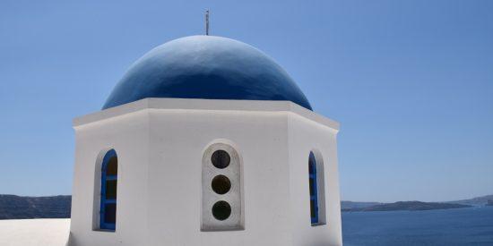 Edificios blancos y azules en Santorini Islas Griegas