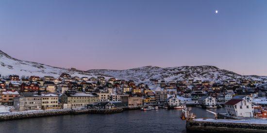 El cabo norte en Noruega de noche